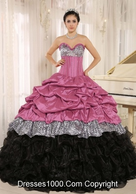 Rose Pink and Black Sweetheart Quinceanera Dresses Gowns with Ruffles and Pick-ups