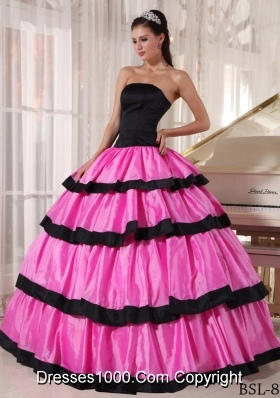 Strapless Rose Pink and Black Quinceanera Dress with Layers