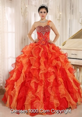 Custom Made Orange Red One Shoulder Quincenera Dresses with Ruffles and Beading