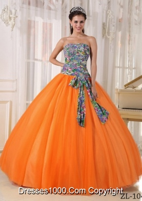 Fashionable Strapless Printing Orange Red Quinceanera Dresses