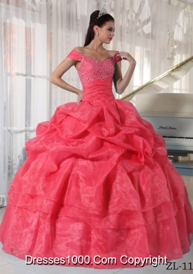 2014 Cute Watermelon Ball Gown Off The Shoulder Quinceanera Dress with Beading and Pick-ups