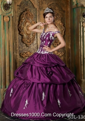 Perfect Dark Purple Off The Shoulder 2014 Appliques Quinceanera Dresses with Pick-ups