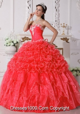 2014 Coral Red Puffy Strapless Embroidery Quinceanera Dress with Beading