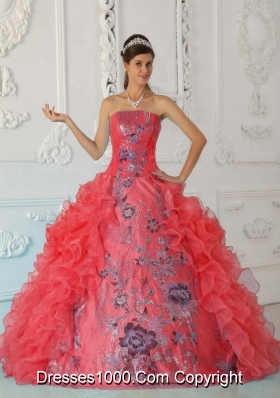 9f1a028cff9 2014 Exquisite Puffy Strapless Embroidery Red Quinceanera Dress with Ruffles
