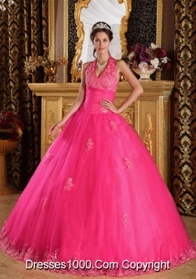 2014 Hot Pink Puffy Halter Appliques Tulle Quinceanera Dress with Beading