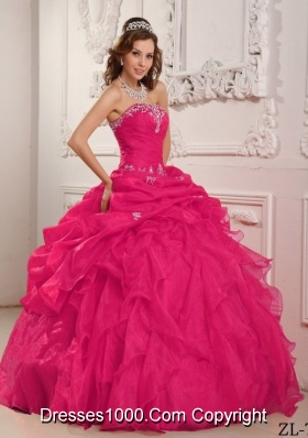 Coral Red Ball Gown Strapless For 2014  Beading And Ruffles Quinceanera Dress with Appliques