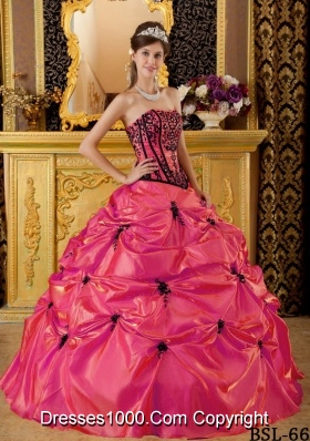 Coral Red Puffy Strapless Beading and Embroidery for 2014 Quinceanera Dress