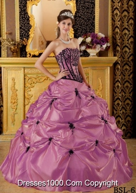 Discount Strapless Sweet 16 Dresses with Black Appliques