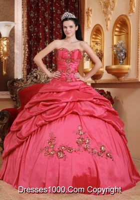 Popular Coral Red Puffy Sweetheart Appliques for 2014 Quinceanera Dress with Pick-ups