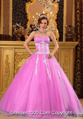 Popular Princess Sweetheart Rose Pink Quinceanera Gowns with Appliques
