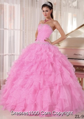 Rose Pink Strapless Organza Puffy Sweet Sixteen Dresses with Beading and Ruffles