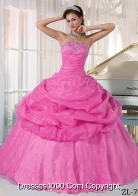 Rose Pink Strapless Organza Quinceanera Dress with Appliques and Pick-ups