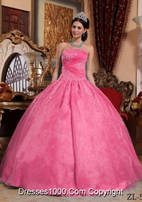 Rose Pink Strapless Organza Sweet 15 Dresses with Appliques