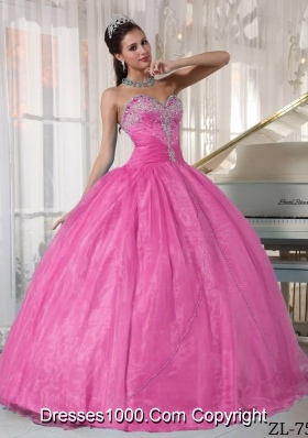 Rose Pink Sweetheart Organza Sweet 15 Dresses with Appliques