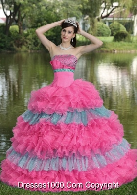 Beaded Decorate Bust Organza Strapless New Style Sweet 16 Dresses with Tiers