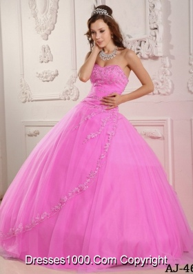 Classical Sweetheart Rose Pink Quinceneara Dresses with Appliques