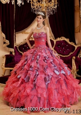 Elegant Puffy Watermelon Sweetheart Beading Leopard and Organza Quinceanera Dresses