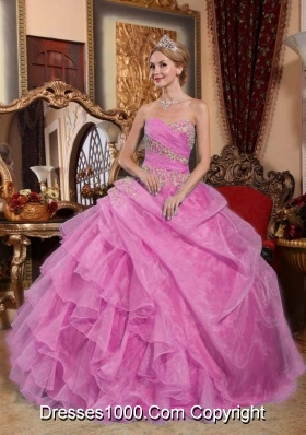 Elegant Sweetheart Appliques and Ruffles for Rose Pink Quinceanera Dress