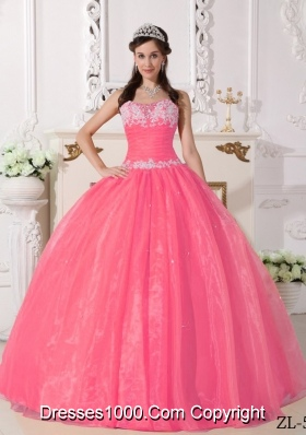 New Style Strapless Organza Quinceanera Gown with Appliques