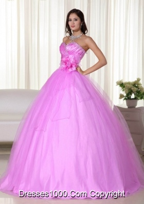 Princess Sweetheart Tulle Quinceanera Dress with Flowers and Beading