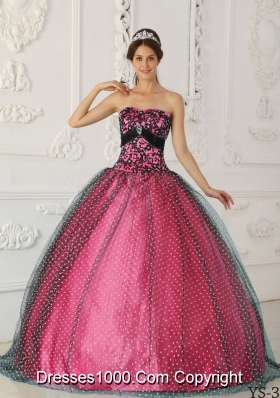 Puffy Strapless Appliques Sweet 15 Dresses with Appliques and Beading