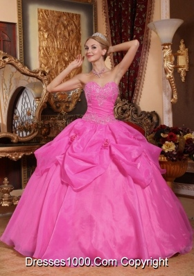 Puffy Sweetheart Organza Rose Pink Quinceanera Dresses with Appliques and Pick-ups
