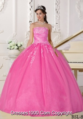 Rose Pink Ball Gown Strapless Quinceanera Gowns with Appliques