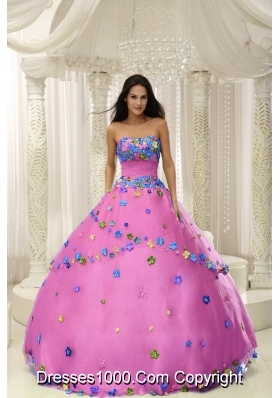 Rose Pink Princess Appliques 2013 Quninceaera Gowns For Custom Made