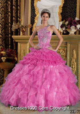 Rose Pink Princess One Shoulder Quinceanera Gowns with Appliques