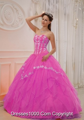 Rose Pink Princess Sweetheart Organza Quinceanera Gowns with Appliques