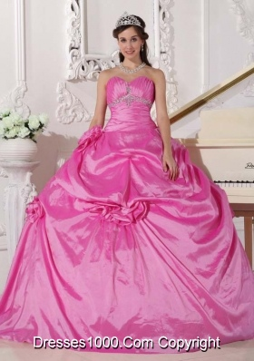 Rose Pink Puffy Sweetheart Sweet Sixteen Dresses with Flowers and Beading