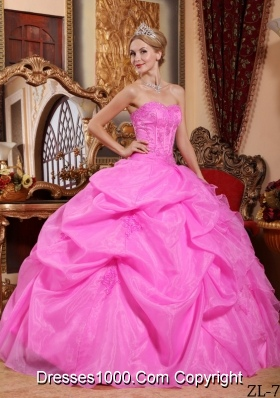 Rose Pink Strapless Organza Appliques and Pick-ups Dresses For a Quince