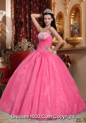 Rose Pink Strapless Organza Quinceneara Dresses with Appliques