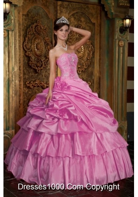 Rose Pink Strapless Quinceanera Gowns with Beading and Pick-ups