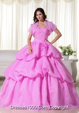 Rose Pink Strapless Sweet 16 Dresses with Flowers and Appliques