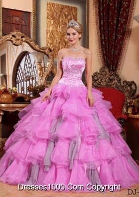 Rose Pink Sweetheart Organza Beading Quinceanera Dresses with Layers