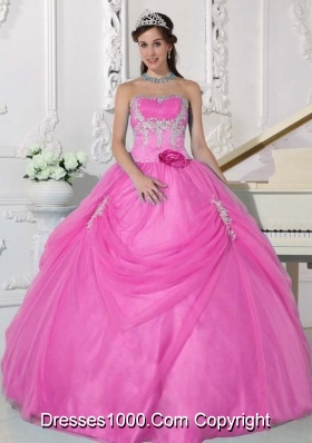 Strapless Cheap Rose Pink Sweet 15 Dresses with Flowers and Appliques