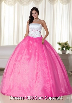 Strapless Organza Rose Pink Quinceanera Dress with Appliques
