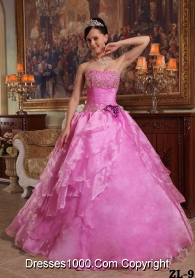 Strapless Organza Rose Pink Quinceneara Dresses with Beading and Layers