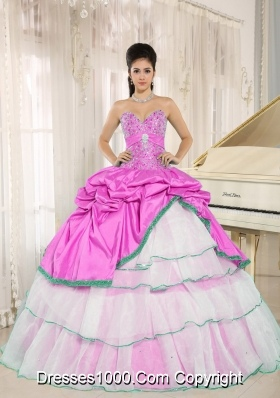 Sweetheart Pick-ups For Rose Pink and White Quinceanera Dress with Layers