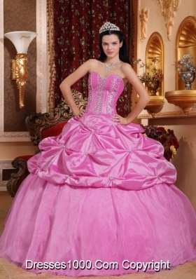 Sweetheart Rose Pink Quinceanera Dress with Beading and Pick-ups