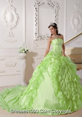 Yellow Green Strapless Chapel Train Beading Royal Quinces Dresses