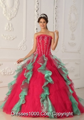 2014 Puffy Strapless Appliques and Beading Quinceanera Dresses