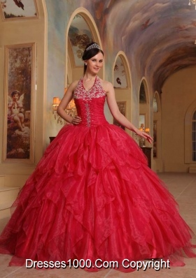 Exclusive Red Puffy Halter 2014 Embroidery Quinceanera Dresses with Ruffles