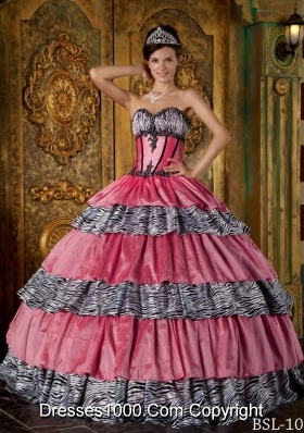 Luxurious Sweetheart Zebra Ruffled Layers for 2014 Quinceanera Dresses