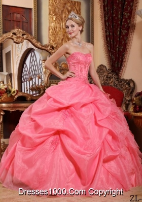 New Style Strapless Organza Pick-ups Quinceanera Gowns with Appliques