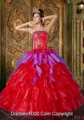 Red Puffy Strapless 2014 Ruffles Quinceanera Dresses with Sequins