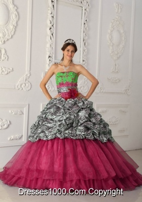 Romantic Red Puffy Strapless 2014 Quinceanera Dresses with Court Train