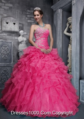 Beautiful Sweetheart Pink Quinceanera Dress with Beading and Organza Appliques