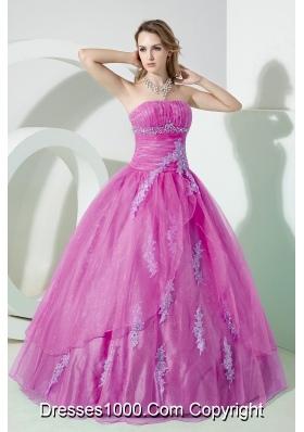 Pink Princess Organza Quinceanera Dress with Appliques